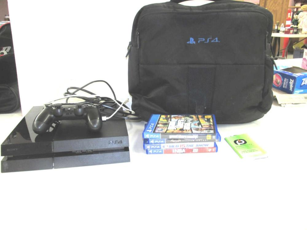 PS4 Console W/4 Games 1 Controller, Cords Plus....