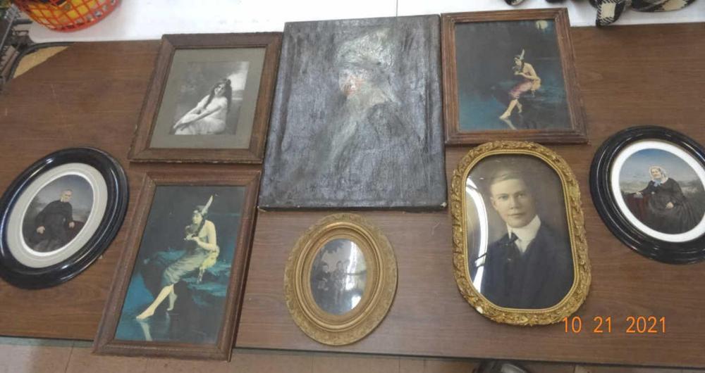 Antique Photographs & 1 Vintage Painting