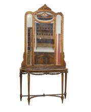 19th cent. French marble top entry table w mirror