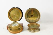 Four Brass Ship's clocks and gauges