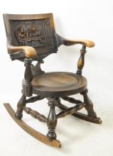 Antique Oak English pub / tavern rocking chair