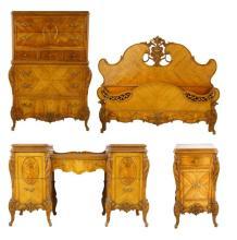 Satinwood highly figured French bedroom set