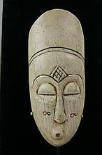Antique African Art carved  ivory mask w stand