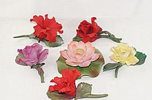 Porcelain flowers - 6pcs
