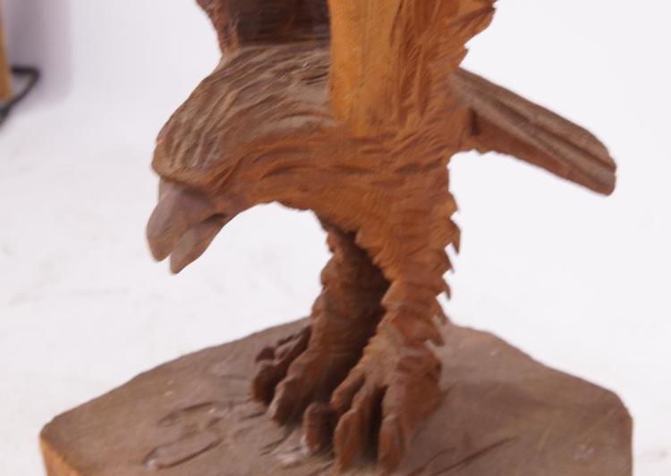 Redwood artisan carved eagle