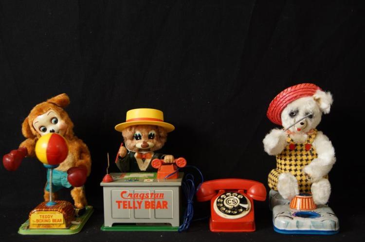 Vintage Japan battery op toys - bears Cragstan