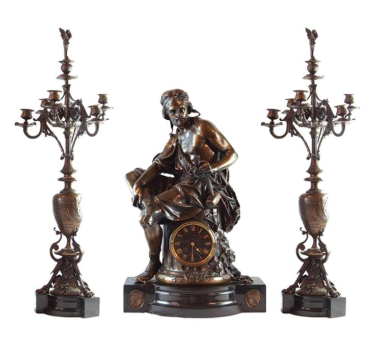 Charpentier 19th cent. 3 pc Bronze clock set