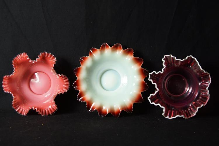 Ruffled antique bowls - cased glass, multi color