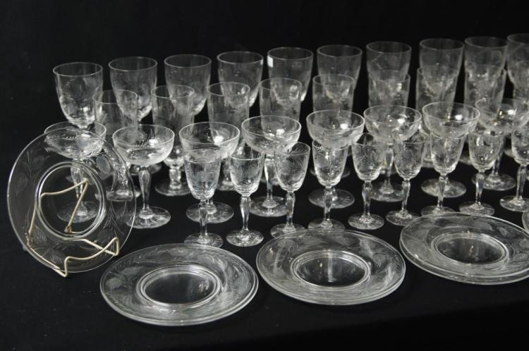Antique etched & crystal glass w lunch plates