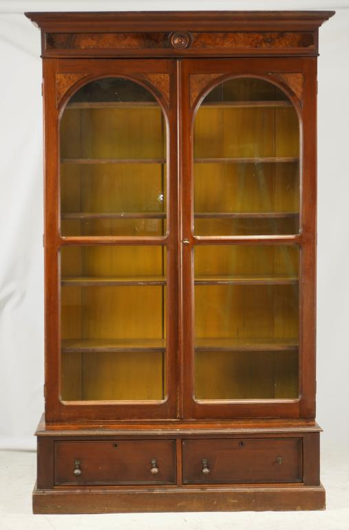 19th cent. 2-Door walnut library Bookcase