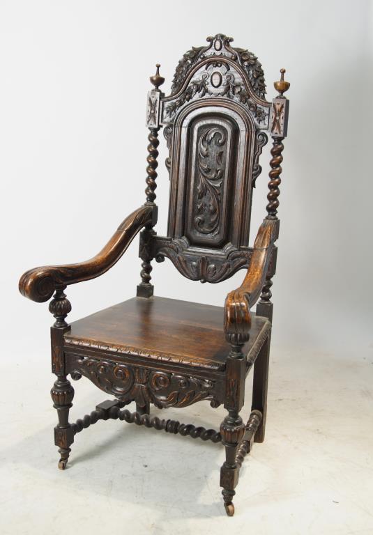 English 19th cent throne chair