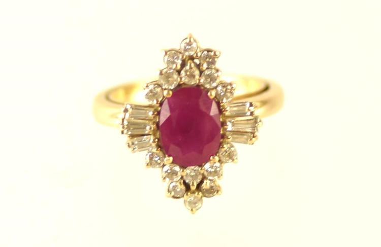 14kt 3 ct Ruby and 2.5 ctw diamond ring