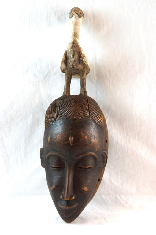 African Congolese tribal mask w bird