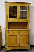 19th c Pine 2-pc cupboard