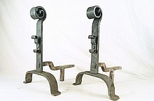 Pair Spanish Colonial wrought iron andirons