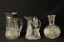 Crystal cut glass art pitchers and vase -3 pcs.