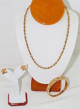 14kt Gold necklace - bangle bracelet & earrings