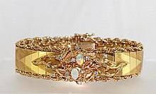 14kt Gold  Opal and Diamond Bracelet 40.9gr