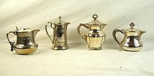 4 Antique silver pitchers