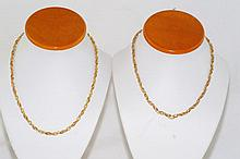 Two 14kt Italian designed rope twist necklaces