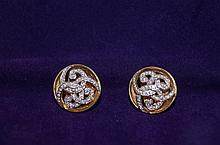 14kt y.g. Diamond Chanel style earrings round cut