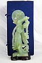 Chinese carved green jade Quan Yin w rabbit