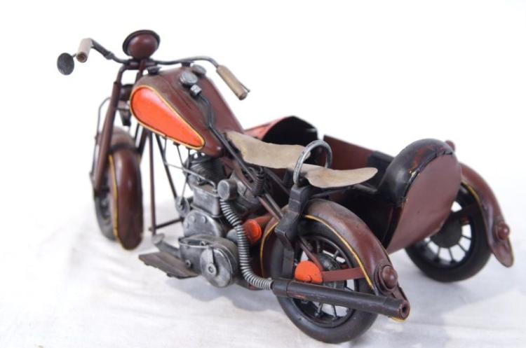 Model Vintage Indian motorcycle with sidecar
