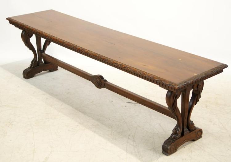Spanish Revival Walnut Long Bench With Cushion