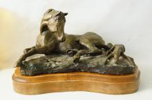 Jack Swanson (1927-2014) Bronze of a mare & colt