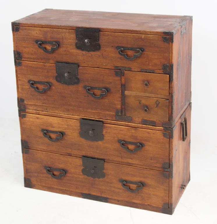 Meiji period japanese tansu 2 pc chest for Asian furniture emeryville ca