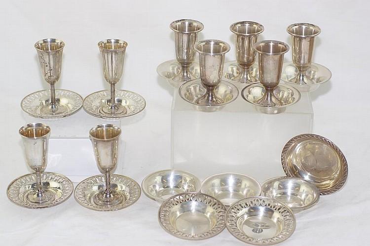 16 Sterling salt dishes, 4 Apéritifs & 5 weighed