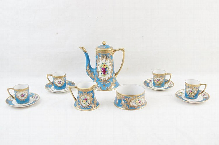 Antique German porcelain demitasse tea set