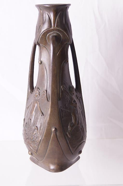J. Garnier (1853-1910) Nouveau bronze vase Pixies