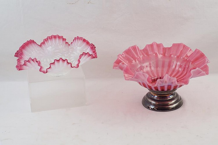 Two Ruffled pink opalescent center bowls