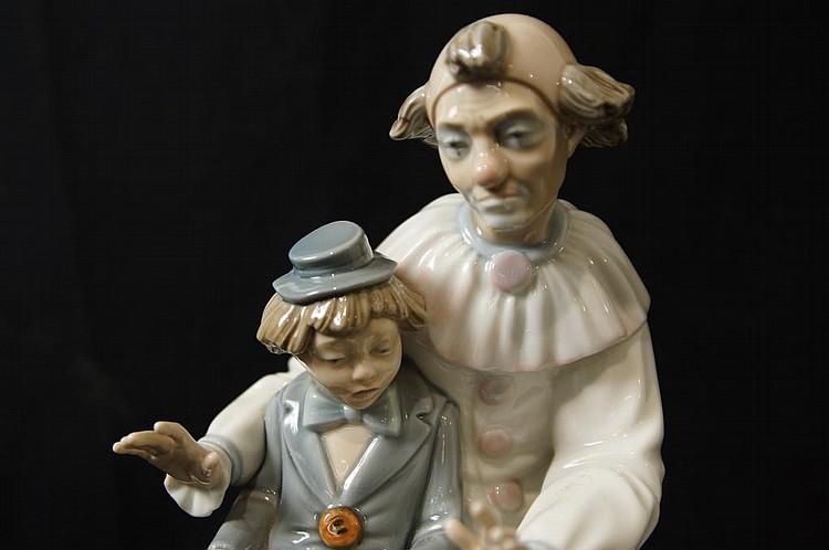 Zaphir porcelain figure - clown w boy w Concertina