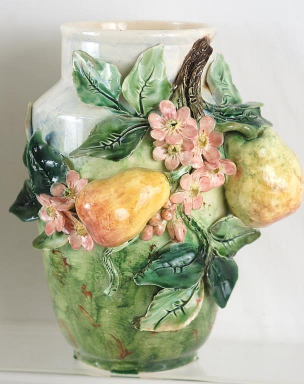 Pair French Majolica vases 12