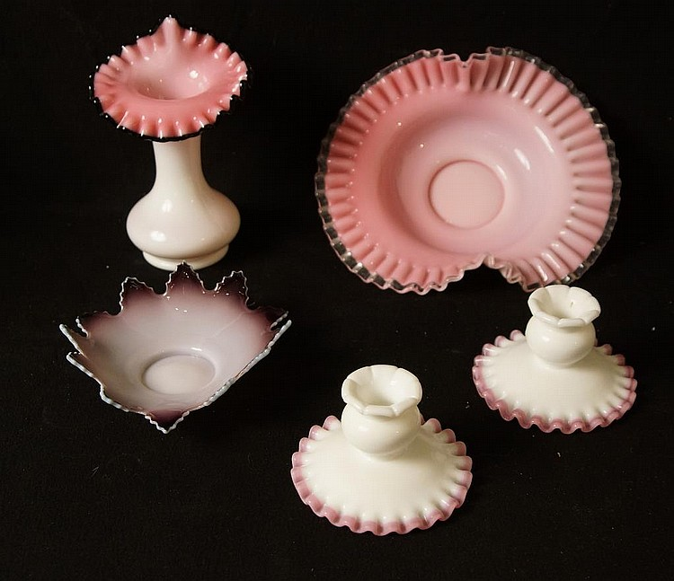 Antique ruffled & case glass bowls & candle holder