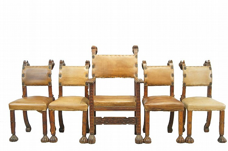 Rare 18th/19th c Leather & wood carved chairs