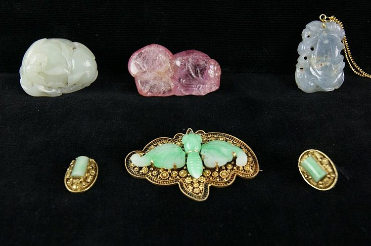 Chinese mini jade carvings - 3 (one in box) GOLD!