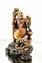Chinese stone carved figure w orig. stand app 5