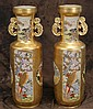Pair fine Satsuma Japanese tall vases early 20th c gold gilt porcelain - app 32