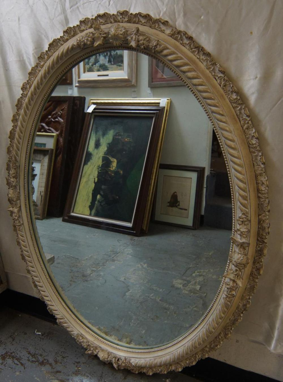 Large Antique Carved Oval Mirror In Ornate Frame