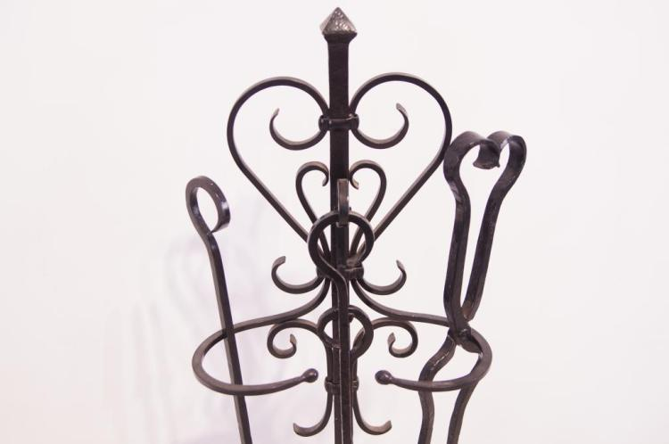 Spanish Revival wrought iron fireplace tools
