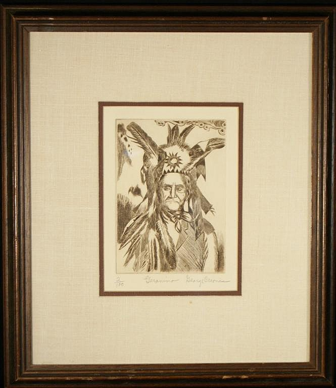 George Crionas (1925-2004) Etching- Geronimo 2/10 size: 7