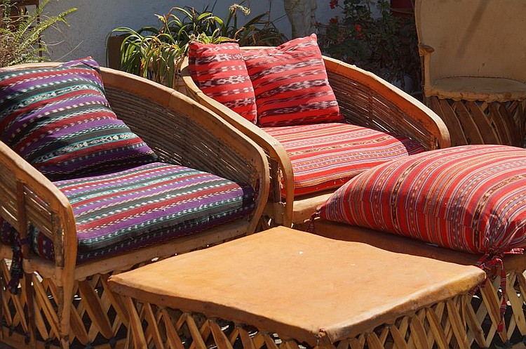 Equipale Mexican patio furniture leather chairs