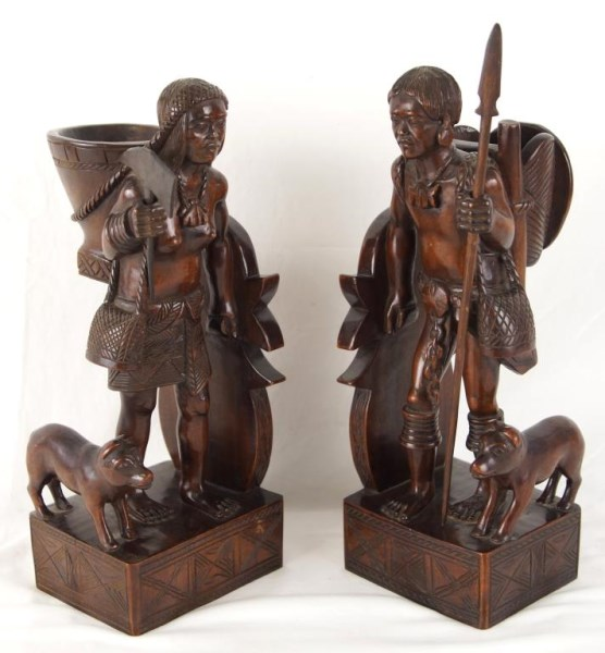 Carved Tables Philippines: Igorot Philippines Hand Carved Figural Bookends Vintage