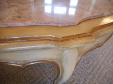 Vintage Pink Marble Light Wood Coffee Table French Provincial