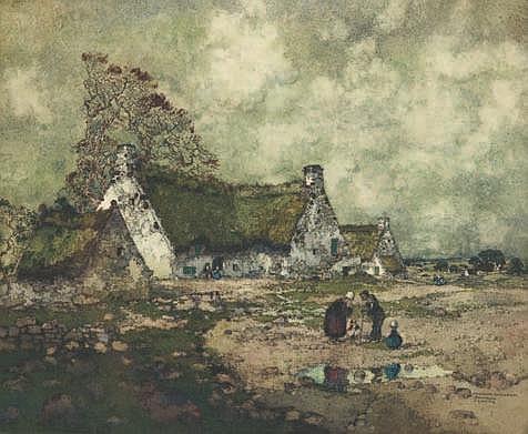 GUERIN Ernest (1887-1952) Chaumes du Morbihan,