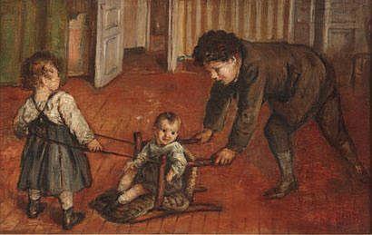DESBOUTIN Marcellin (1823-1902) Le traîneau Huile