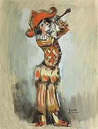 FLORES Pedro (1897-1967) Arlequin à la flûte